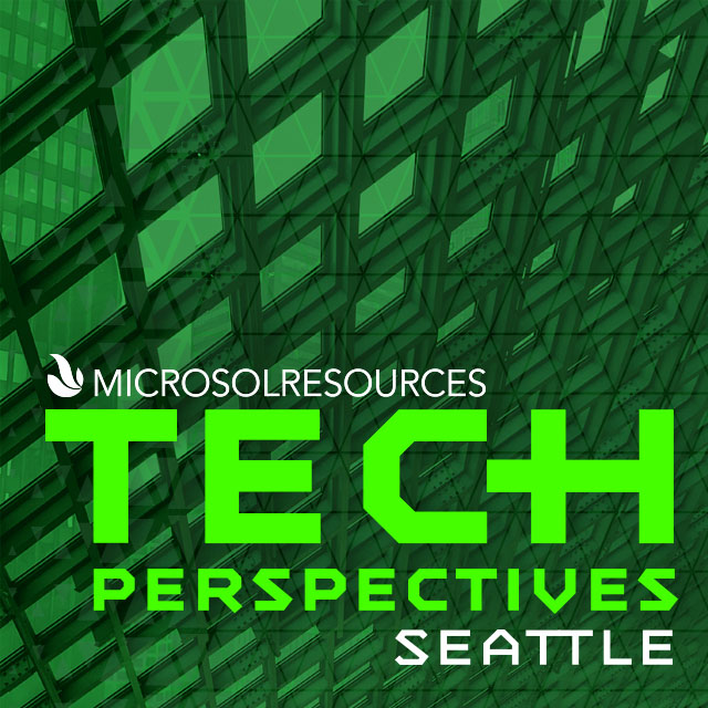 Seattle Central Library is the backdrop for this social post designed for the Microsol Resources Tech Perspectives event.