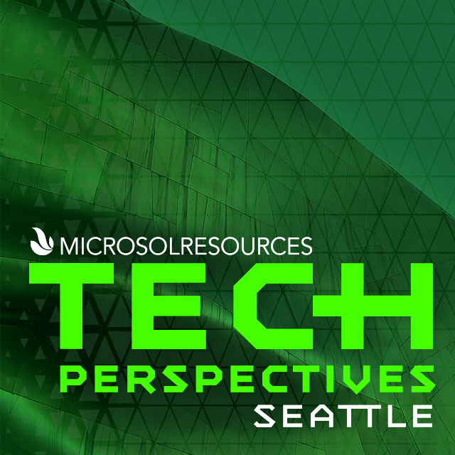 Seattle's MoPop (Museum of Pop culture) is the backdrop for this social post designed for the Microsol Resources Tech Perspectives event.