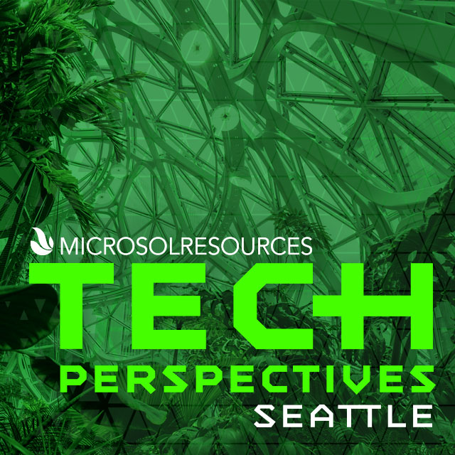 Amazon's The Spheres building is the backdrop for this social post designed for the Microsol Resources Tech Perspectives event.