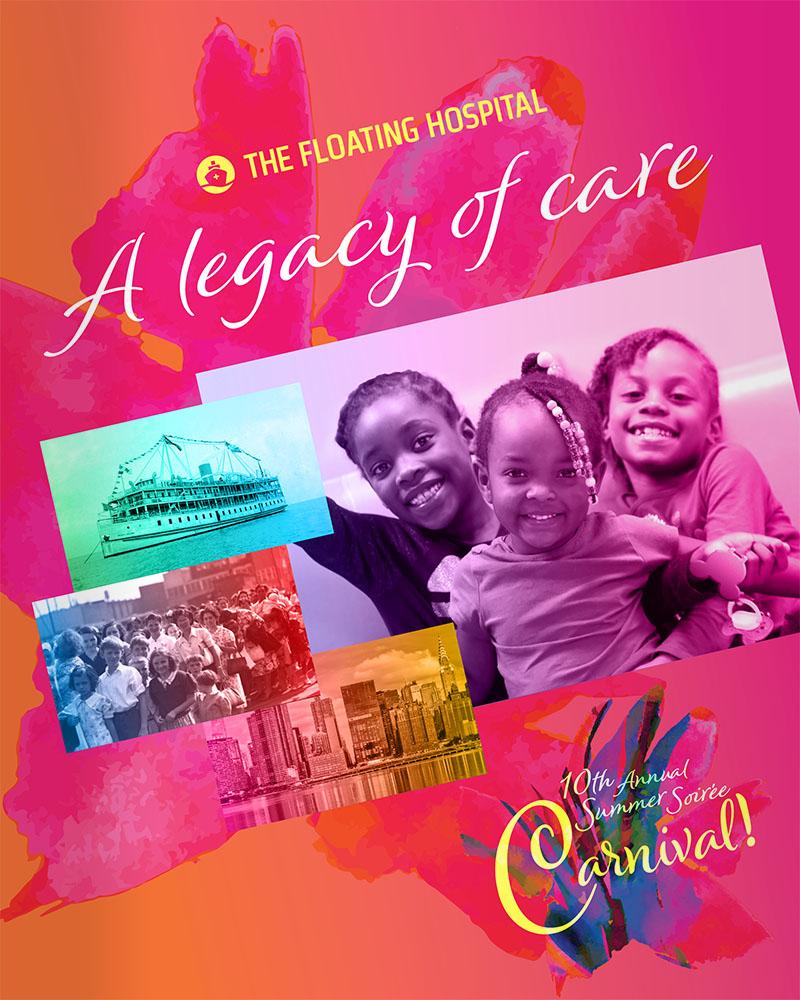 Design for The Floating Hospital's 2019 Summer Soirée Event program, showing the cover.