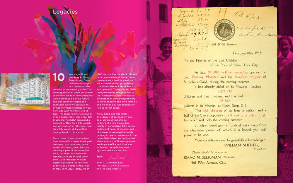 Design for The Floating Hospital's 2019 Summer Soirée Event Program showing the legacy spread and featuring a 1903 treasurer's letter.