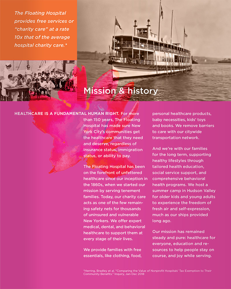 Design for The Floating Hospital's 2019 Summer Soirée Event program, showing the mission and history page.