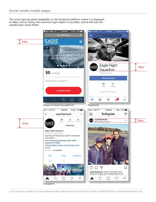 Eagle Flight Squadron Rebrand Style Guide page showing which version of the logo should be used in different social media platforms.