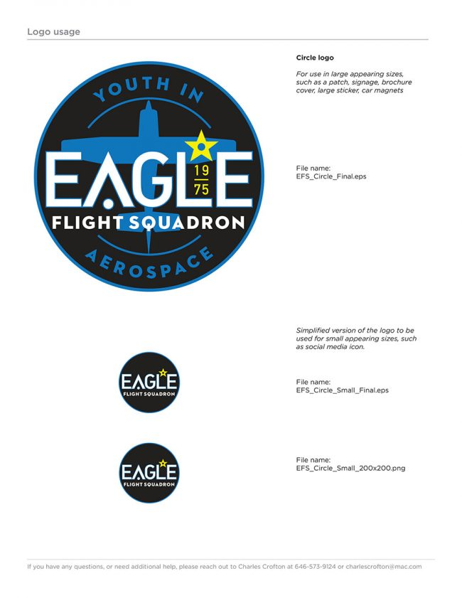 Eagle Flight Squadron Rebrand Style Guide page showing the main circle version of the newly redesigned logo, with small appearing size variant.