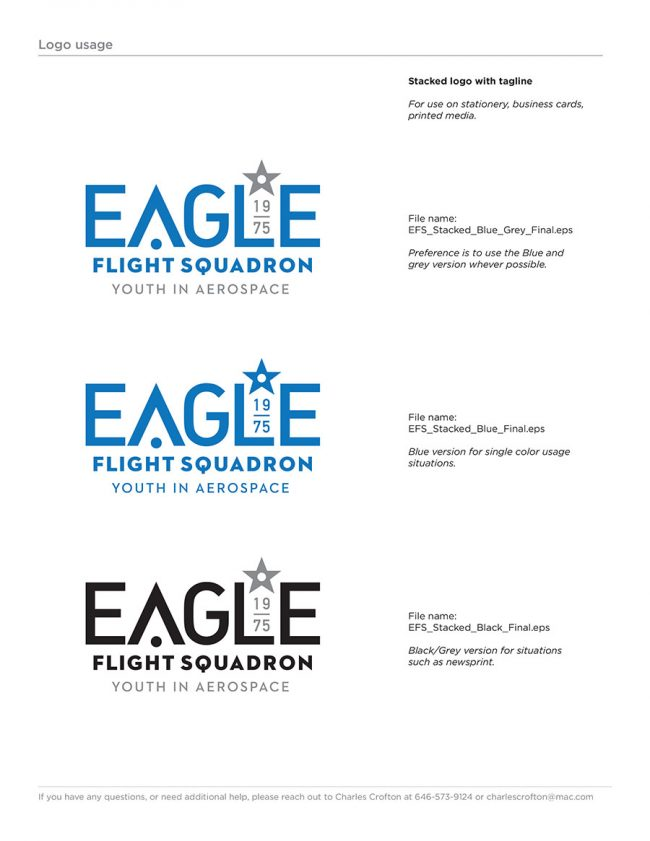Eagle Flight Squadron Rebrand Style Guide page showing a stacked version of the newly redesigned logo, with different color treatments.