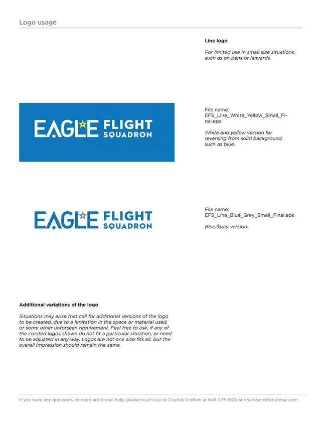 Eagle Flight Squadron Rebrand Style Guide page showing a line version of the newly redesigned logo.