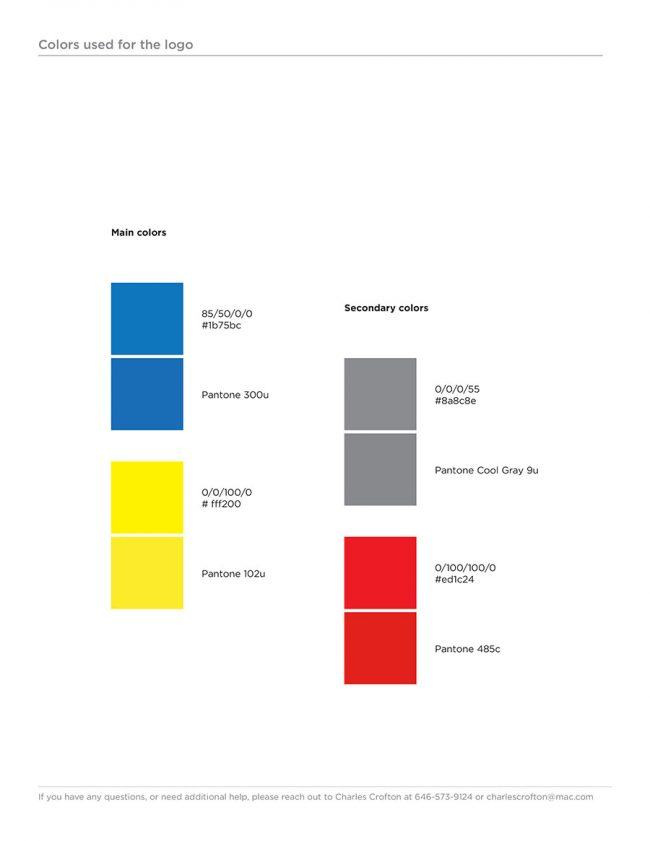 Eagle Flight Squadron Rebrand Style Guide page showing the main color palette and each colors Pantone, CMYK and HTML color codes.