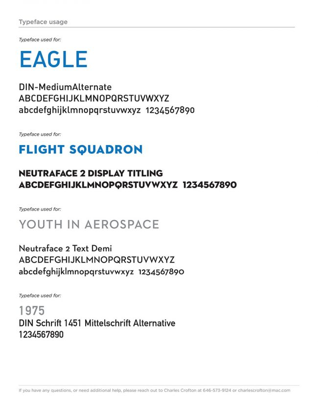 Eagle Flight Squadron Rebrand Style Guide page identifying the typefaces used for various parts of the redesigned logo.