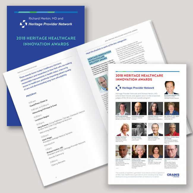 Heritage Healthcare innovation Awards 2018 showing design of the 16-page event program.