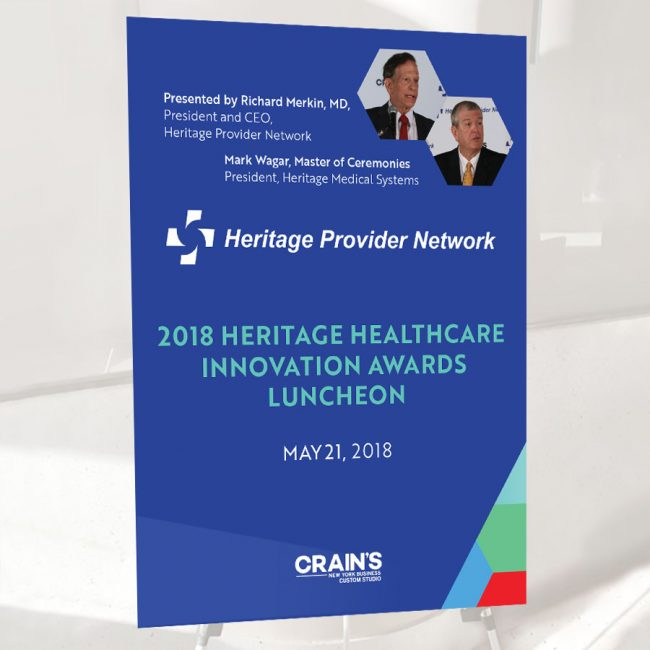 Heritage Healthcare innovation Awards 2018 showing design of signage at the event.