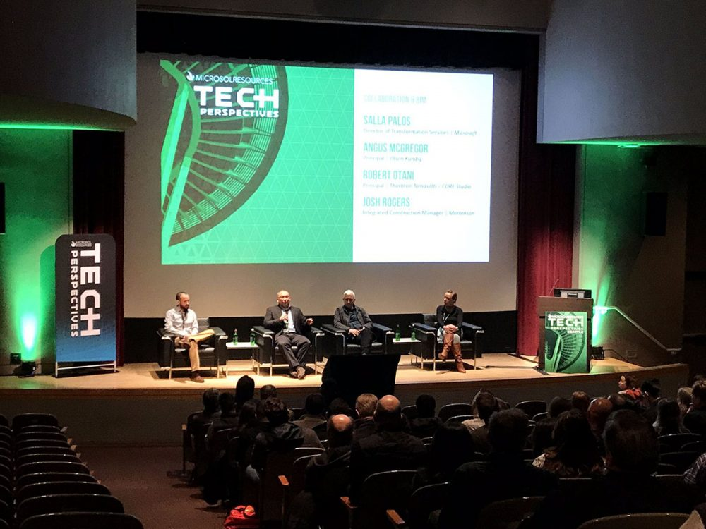 2-11-2020: A panel discussion underway on the stage of Tech perspectives Seattle.
