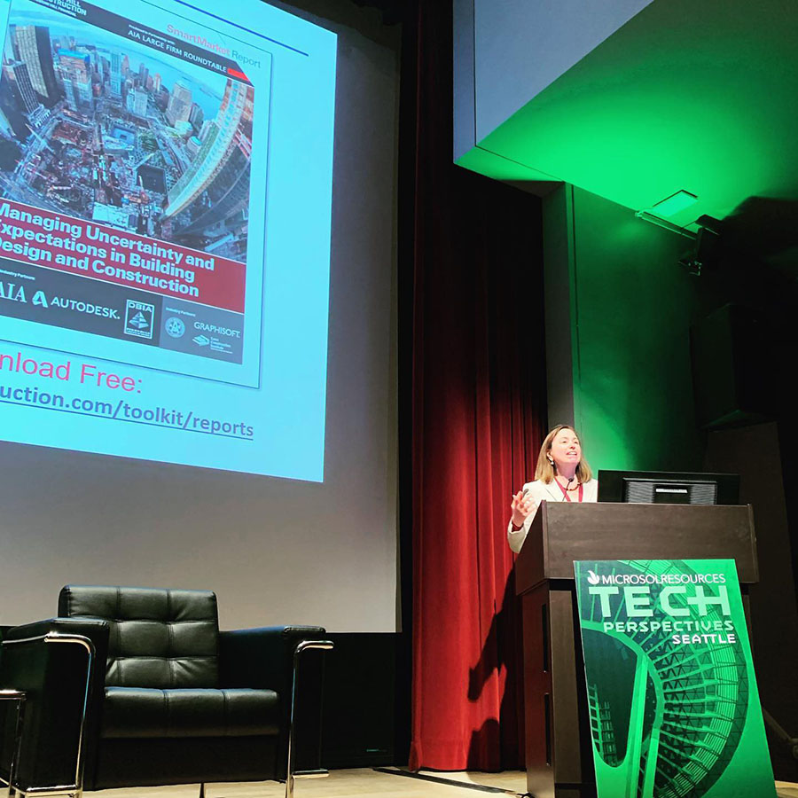 2-11-2020: Donna Laquidara-Carr, Dodge Data & Analytics, speaks to attendees at the Tech Perspectives event, at the Seattle Art museum.