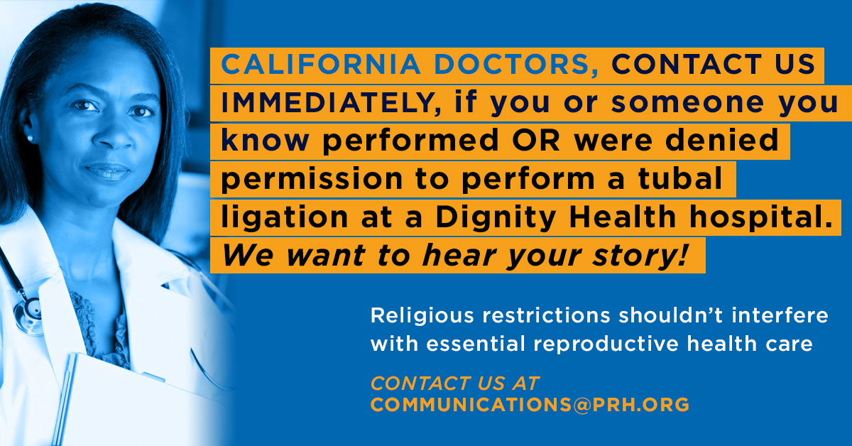 Physicians For Reproductive healthcare: Facebook post design supporting Californian doctors who may have experienced religious restrictions at certain hospitals.