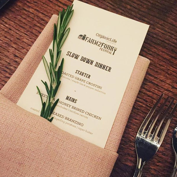 At the event there were menus that carried the event logo, including this one for the Slow Down Dinner.