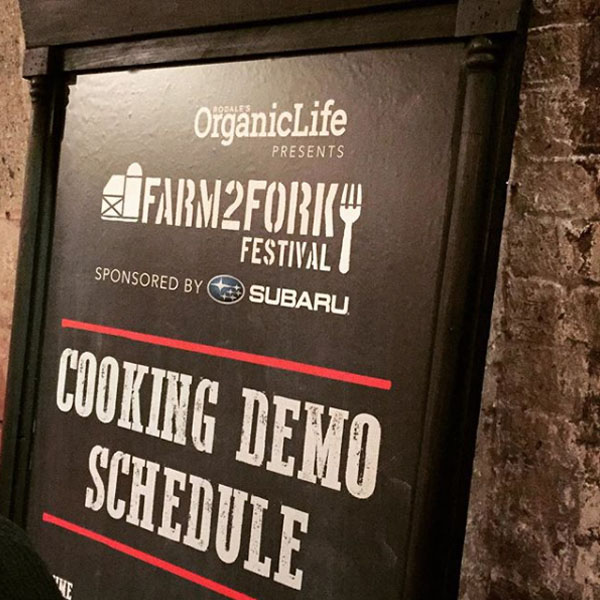 At the event there was lots of signage that showcased the event logo, including this one for the cooking demo schedule.