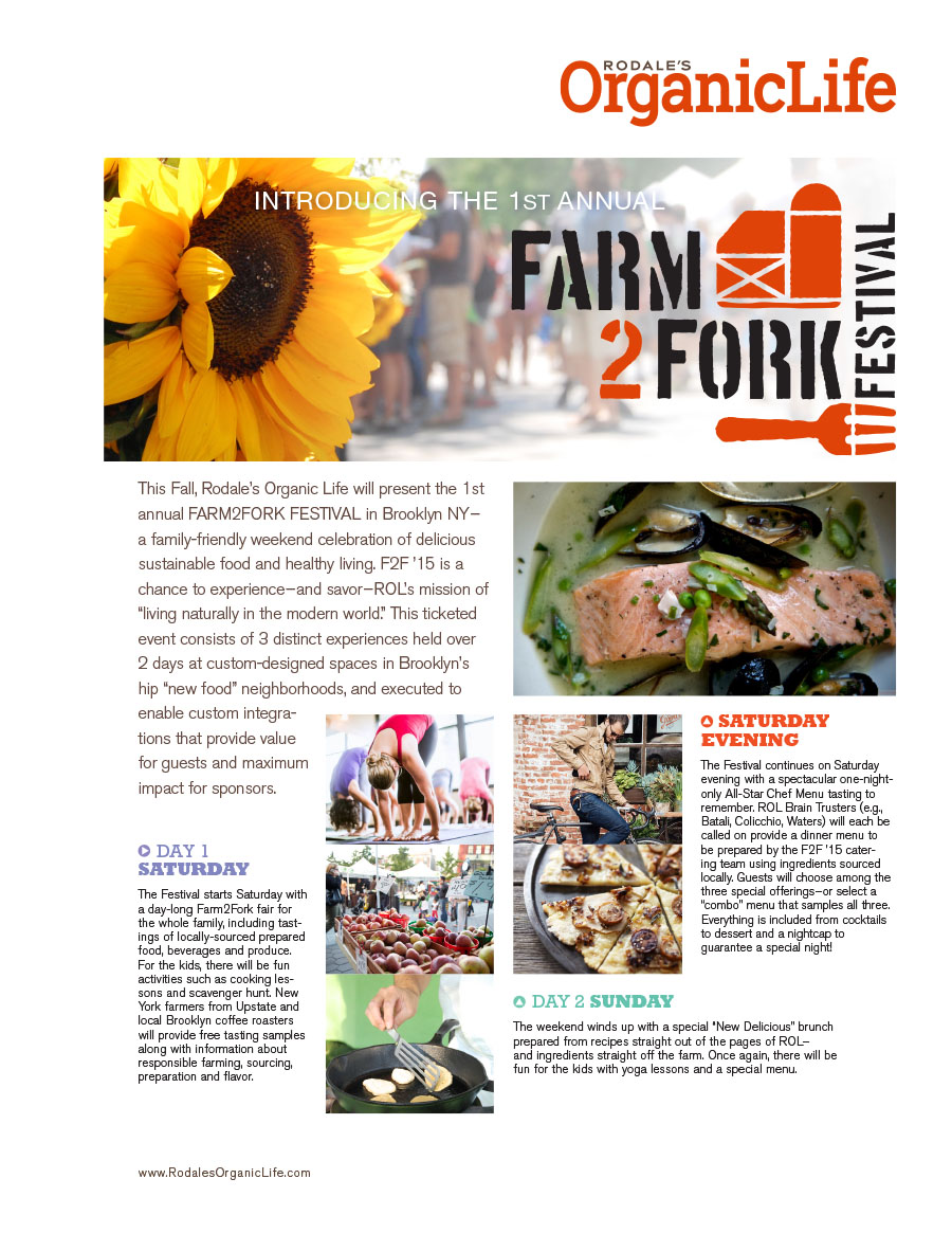 Sell sheet designed to promote the Farm2Fork Festival to advertisers and sponsors.