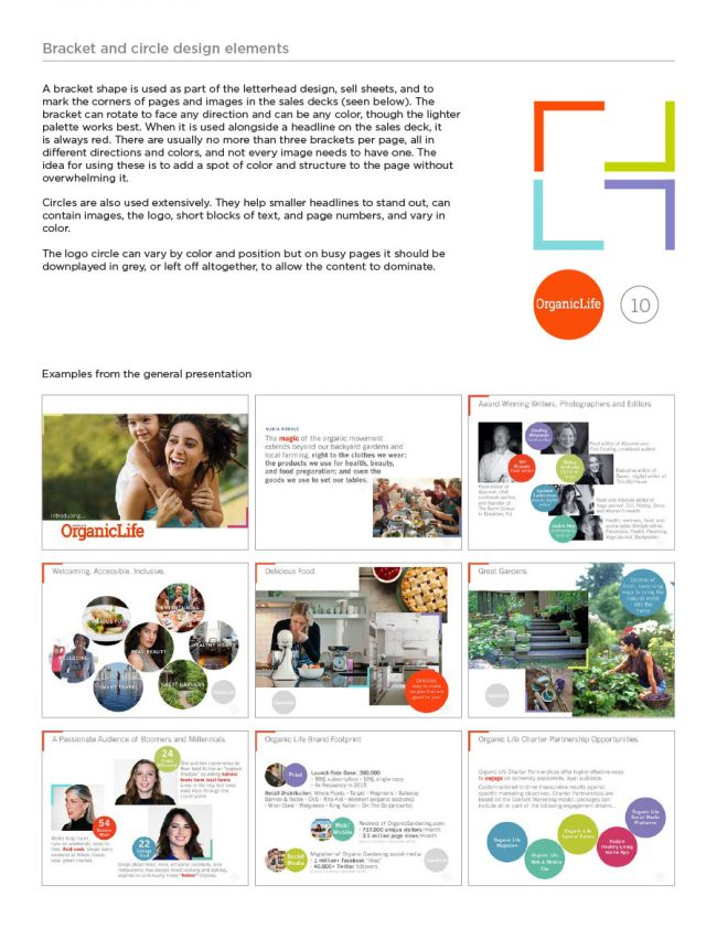 Brand Guide: This page showing the graphic elements used in the marketing materials, as well as examples from the general presentation.