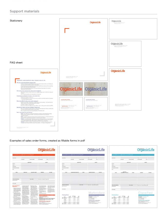 Brand Guide: This page showing how the stationery, an FAQ sheet, and sales order forms (which were fillable pdf forms) worked together.
