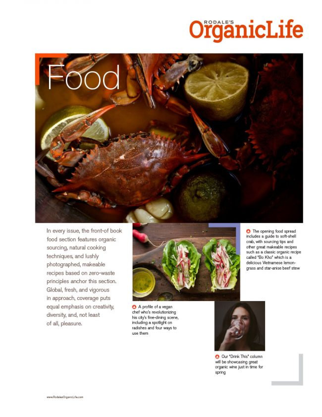 Rodale's Organic Life sell sheet for the Food category, featuring upcoming articles.