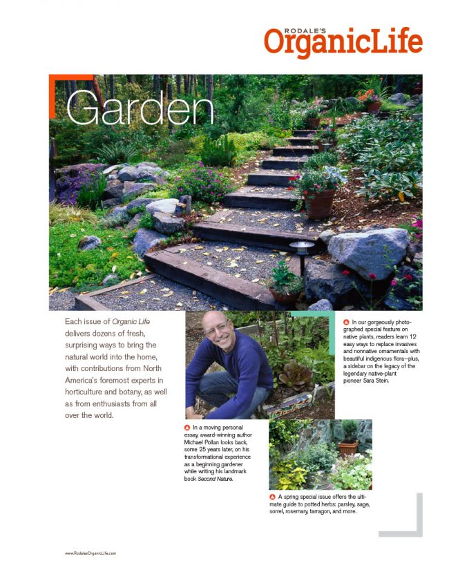 Rodale's Organic Life sell sheet for the Garden category, featuring upcoming articles.