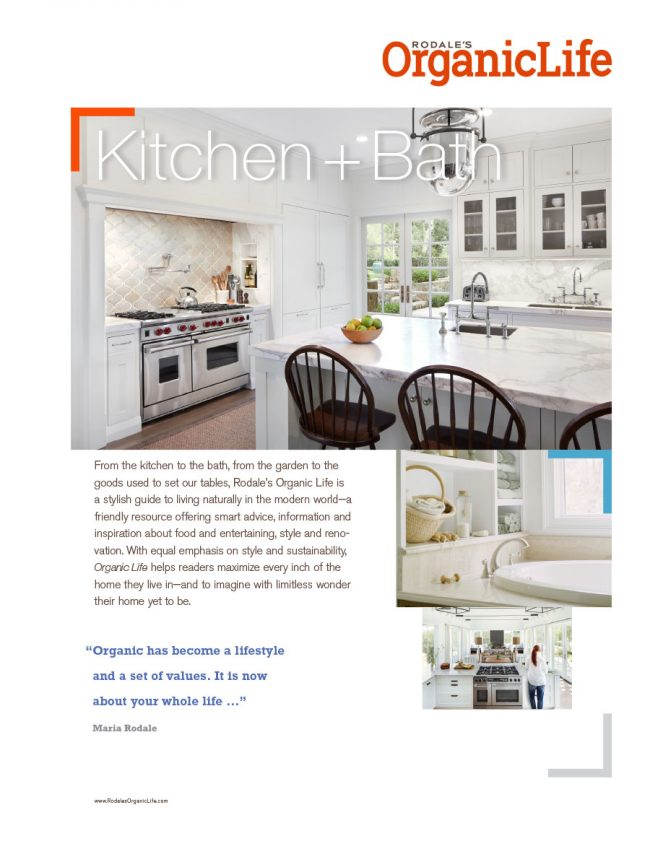 Rodale's Organic Life sell sheet for the Kitchen and Bath category, featuring upcoming articles.