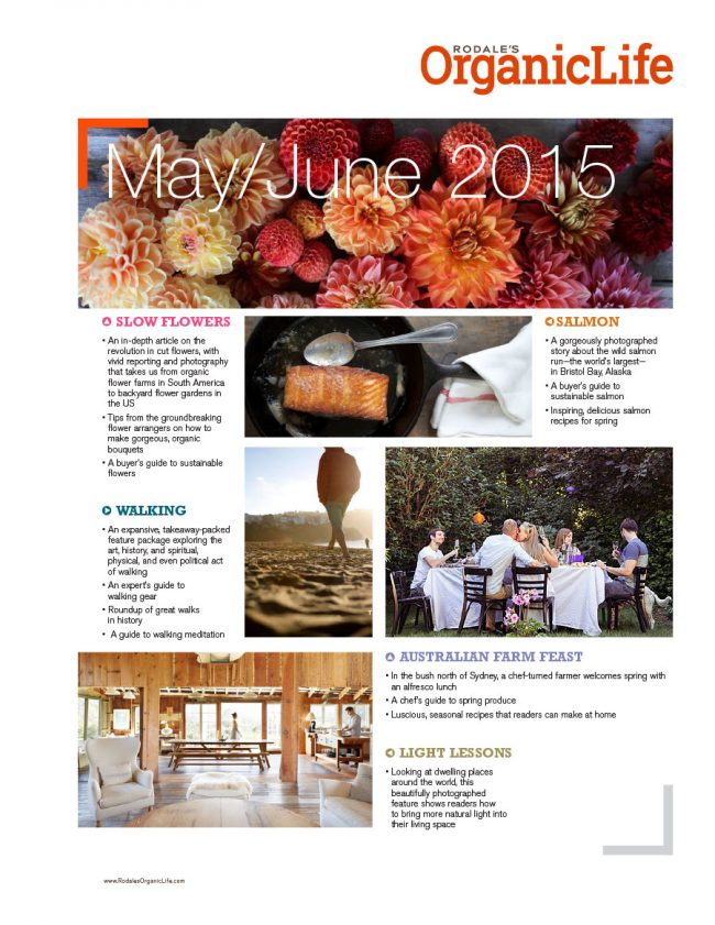 Sell sheet design for Rodale's Organic Life content for May/June 2015.