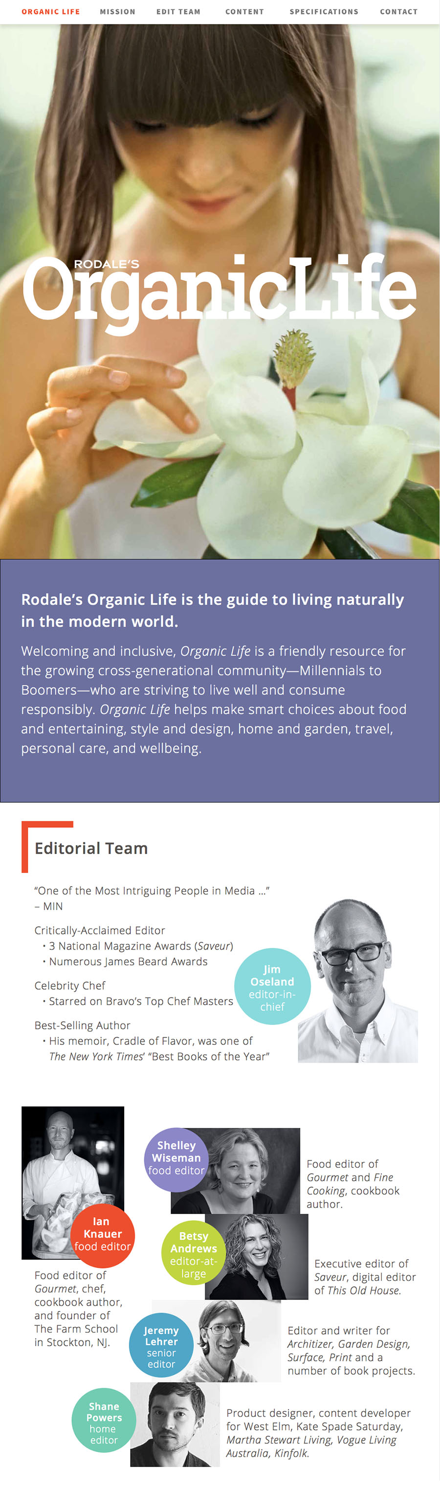 Online media kit, part of the magazine launch marketing collateral. Top half featuring hero image; mission statement; editorial team.