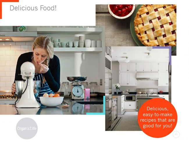 Three large images show food, kitchens, and a potential reader in the process of baking.