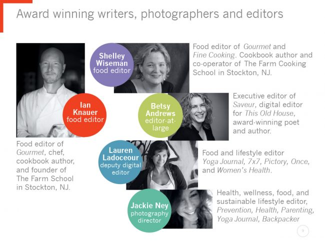 General presentation page featuring writers, photographers and editors.