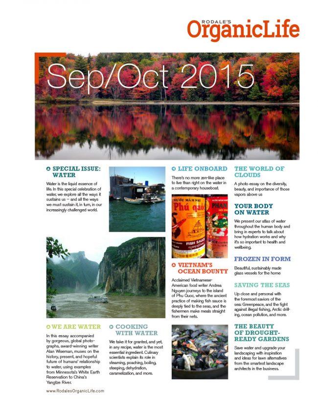 Sell sheet design for Rodale's Organic Life content for September-October 2015.
