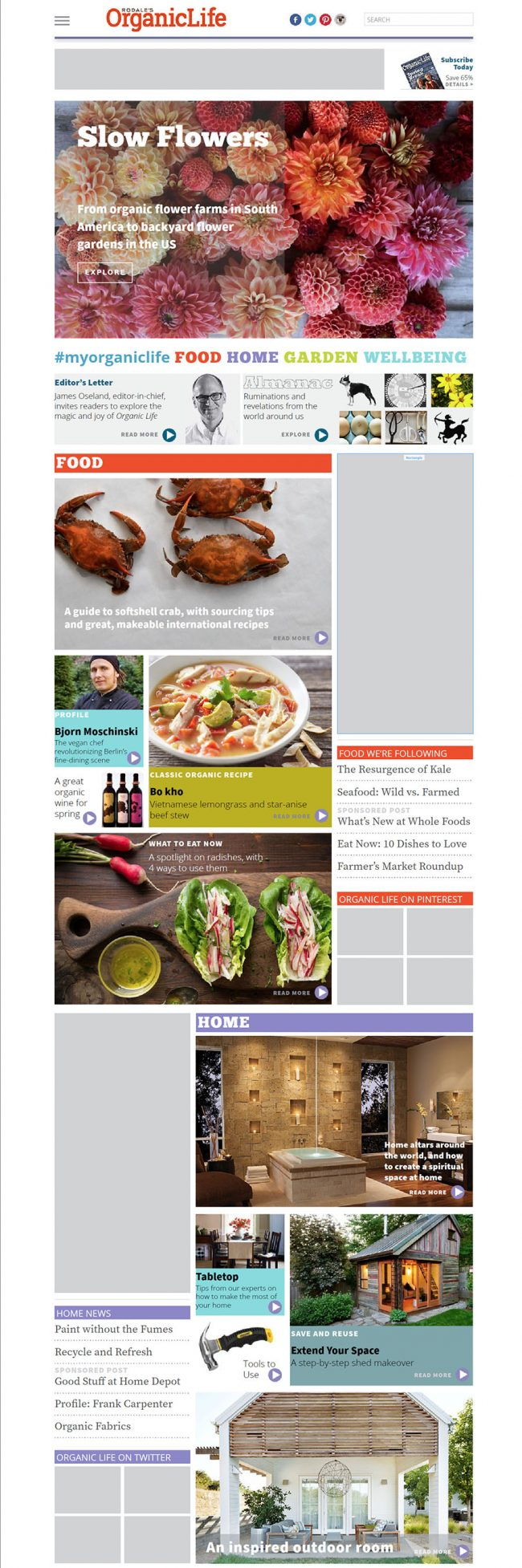 Homepage and Food page comp published live to show advertisers. This is the top half of the homepage.