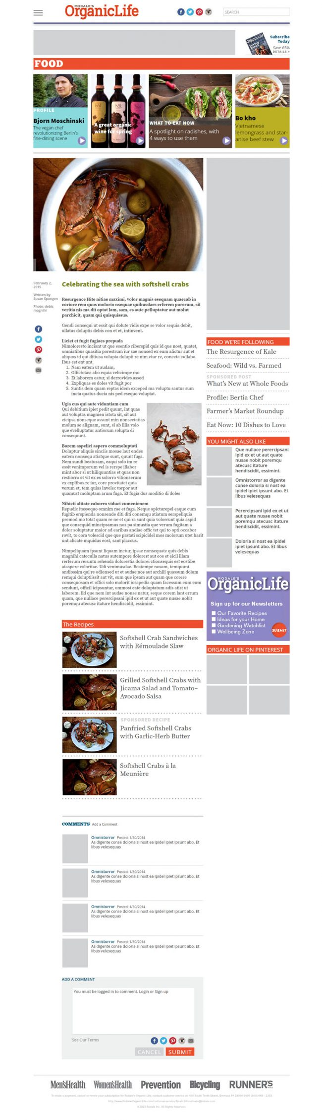 Homepage and Food page comp published live to show advertisers. This is the Food category page.