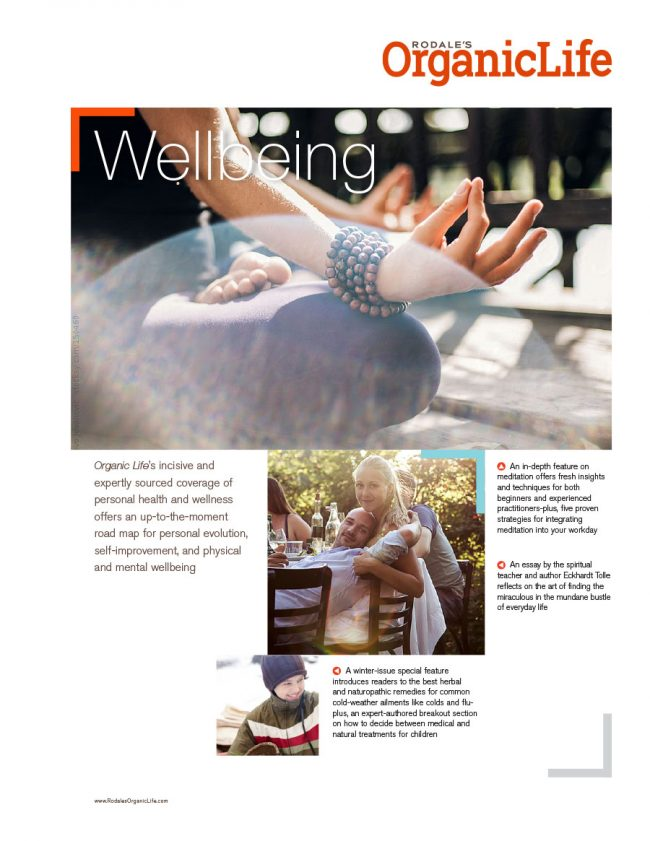 Rodale's Organic Life sell sheet for the Wellbeing category, featuring upcoming articles.