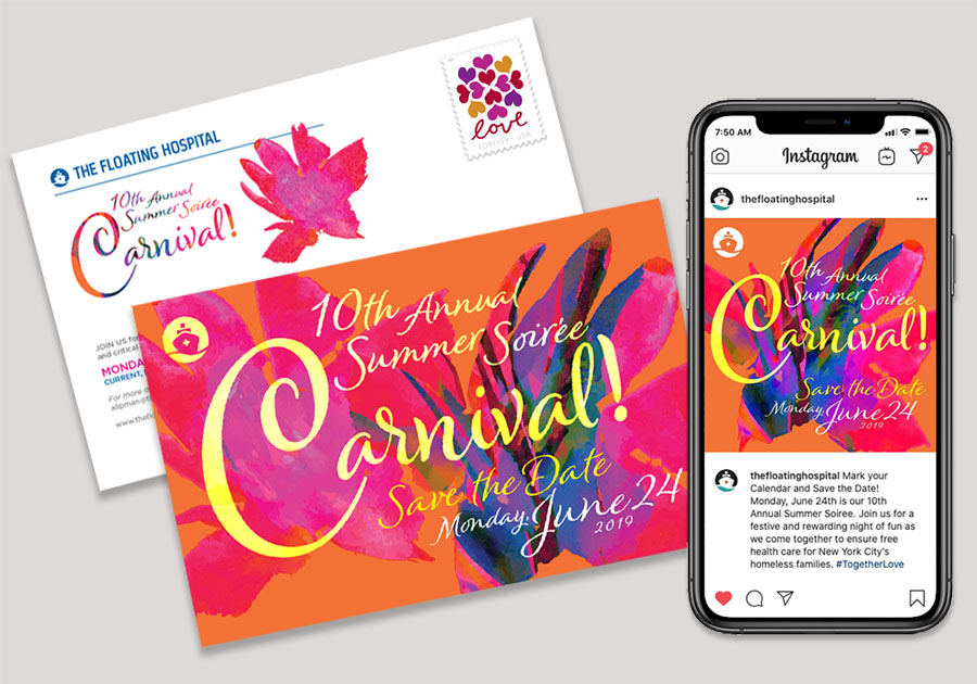 Design for The Floating Hospital's 2019 Summer Soirée showing save-the-date postcard and social media.